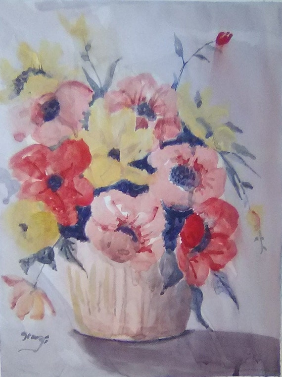 floral painting in watercolor, originally hand painted, watercolor Artwork, Wall art Prints, matted picture, Gifts #206