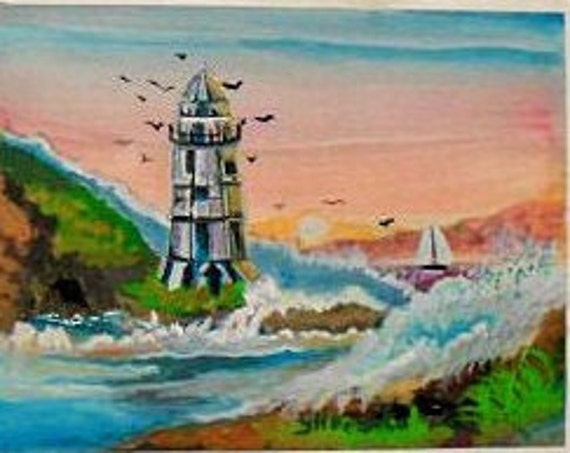 Blue lighthouse Art, Room Decor, Wall Art, Watercolor Painting Art Print, Waves, Coastal Decor, #56