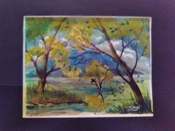 Forest landscape, watercolor artwork print, yellow tree,wall painting, autumn forest, yellow tree, home decor, contemporary art,#48