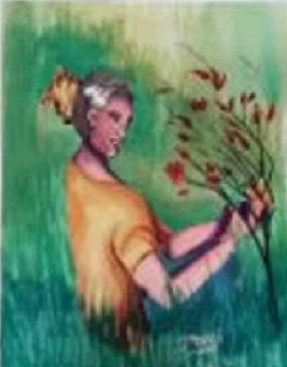 Watercolor Still life Painting Art Print , Woman in park, Watercolor Original Art Work , folk art living room decor, rustic wall decor #056