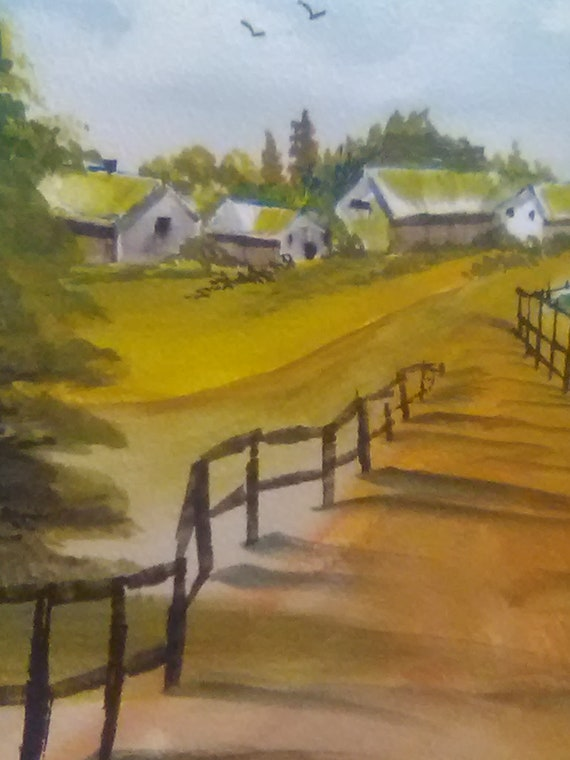 Village with Fance, Modern Wall Art,Watercolor Original Painting Print,Landscape Paiting, Home Office Deore, Gift.# 186