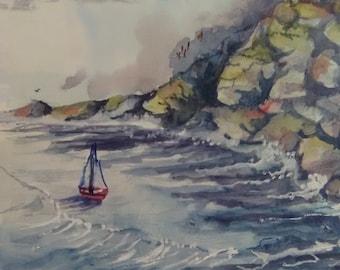 Memorial Day Art, Rustic wall decor, 11x14in Artwork Print, sail boat in ocean, Watercolor Original Art Print, Gift,  Colorful Painting #209