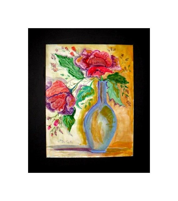 Red Flowers in Blue vase, Original Watercolor painting print,, flower bouquet, Holiday gift , Red room wall art, home decor #48