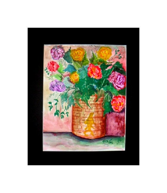 Wildflower Watercolor bouquet, watercolor painting print, flowers with wicker basket, bed room art, gifts for Mom, home decor #321
