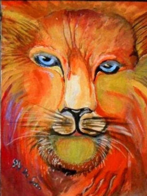 Lion Head, Watercolor Original  Painting Prints, lion Art, Animal Art, Modern Wall Art,  Folk Art Painting, Gift, Home Decor #339