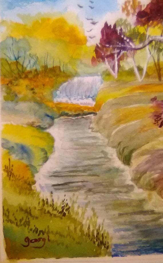 Summer Waterfall Watercolor Landscape Painting Print ,Yellow Tree, Wall Art Print, Birthday Gift, Home decor #173