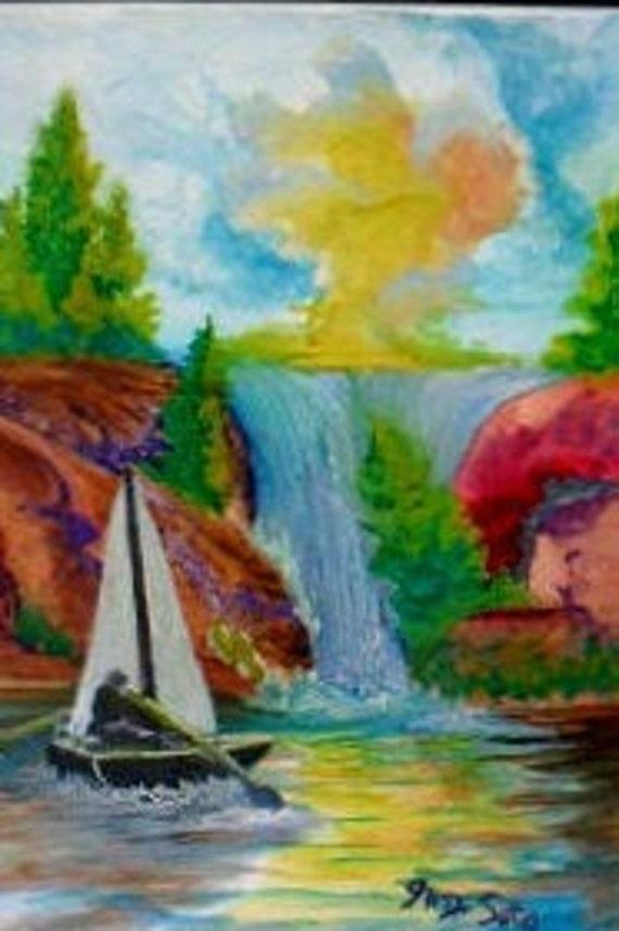 Rustic cabin decor, # 31 mountain landscape, wall prints, watercolor landscape, modern art prints, landscape wall art, sailboat painting
