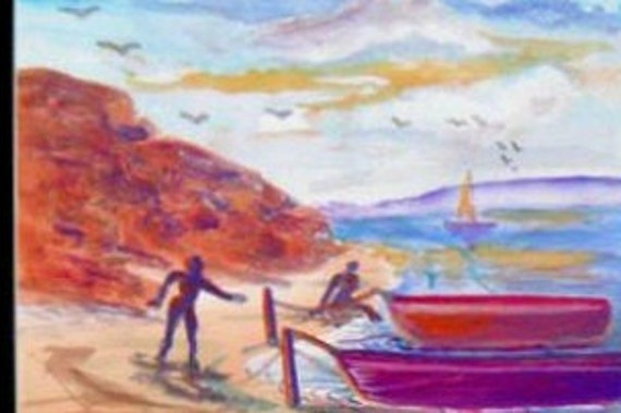 Red Boat on a beach, Seascape watercolor artwork print, of an original , art work print,of an original painting, mountain  kids room, #28