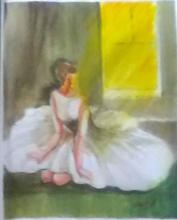 Kneeling Ballerina Watercolor Painting Print, Girl in White Dress, Wall Décor, Gift # 189