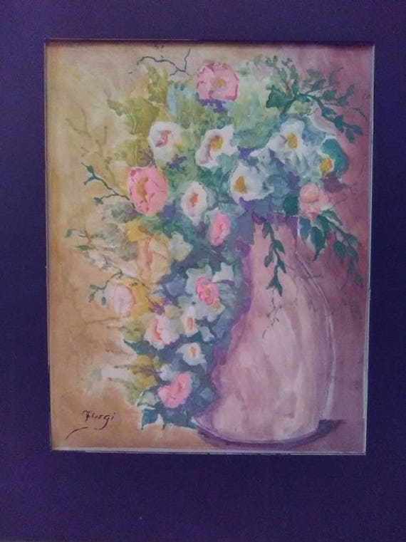 Flowers in a Lavender Vase, Lavender art print, watercolor painting, modern art, cool wall work, gift, living room home decor #28