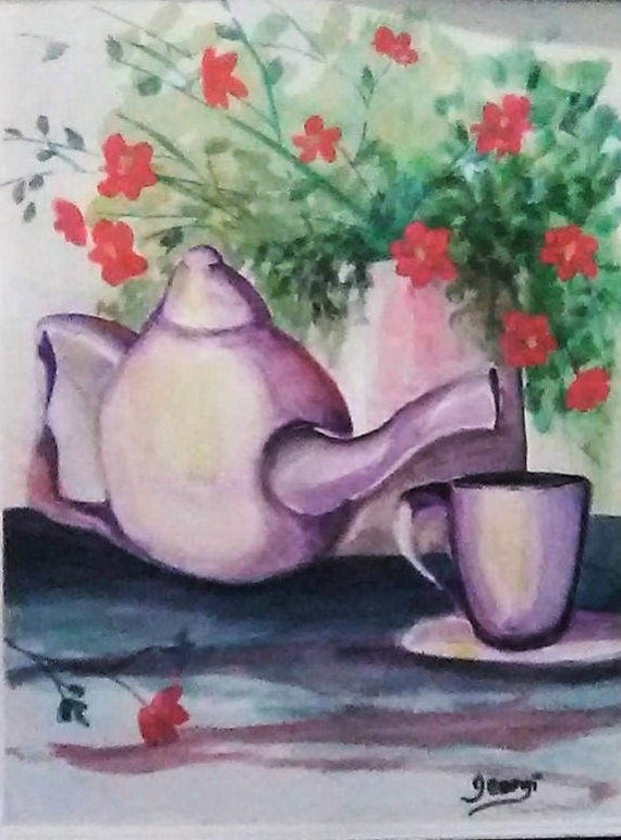 White Tea pot and Vase W Red Flowers,Tea pot wall art, cool posters, coffee cup home decor, art prints,Tea pot art, watercolor wall art #60