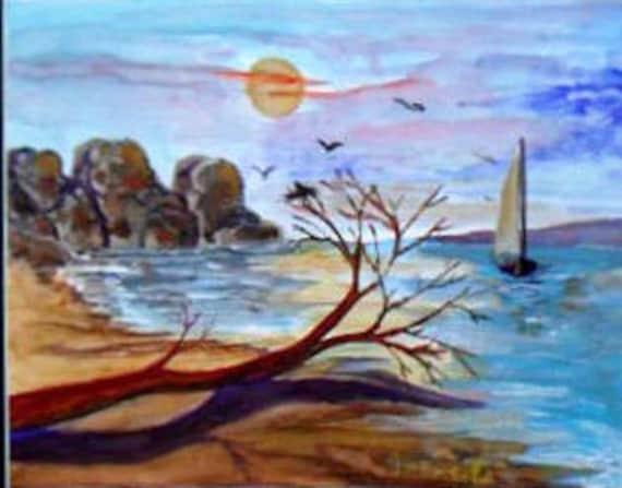 Fallen Tree, Ocean Beach Sunset, Sail Boat ,Mountan, Beach Wall Art, Watercolor Original Painting Prints, Ocean decor, Brithday Gift # 009