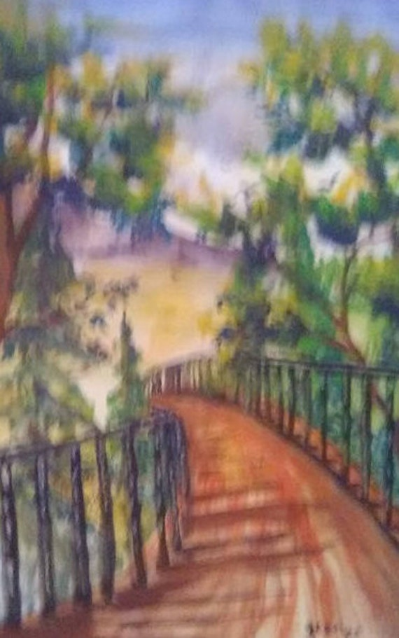 Modern wall art, Country Bridge art, landscape art work, Bedroom art work, watercolor print, folk art, home decor, wall pictures, gift #8A