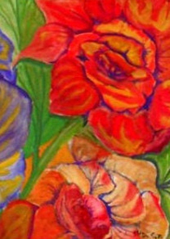 Βoho room decor, red flowers, modern art prints, cool posters, hippie room decor, watercolor art, painting of roses, gifts for mom #61