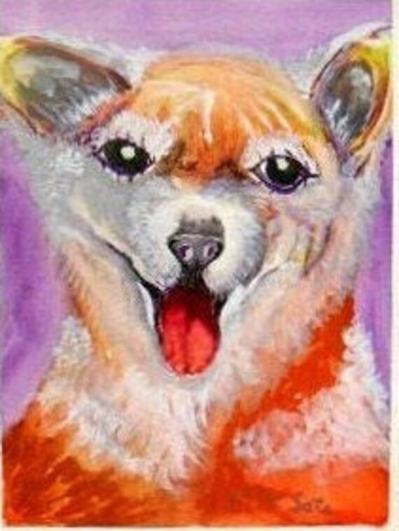 Shiba Inu Puppy, Watercolor Animal Original Painting Print, Dog Wall Art, Pet Friend Painting , Nursery Wall Art, Gift for Animal Lover #006