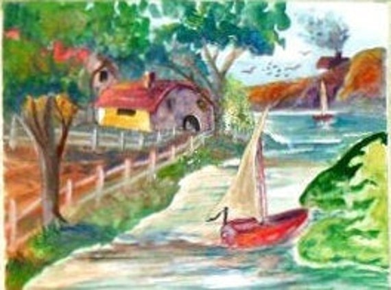 Red Sail Boat Landscape Watercolor Painting Print, River Painting, House and Fance Painting, Gift for Child, Home or office decor#008
