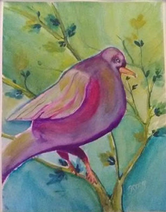 Big song bird ,Print from original watercolor painting,bedroom wall art, bird prints, Holiday gifts, bird,#51