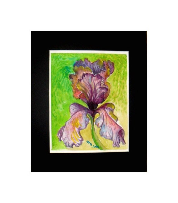 Purple iris,Watercolor Floral, Original Painting Print  Holiday gift, Folk art , Wall art, Purple Iris Flower, Home decor #45