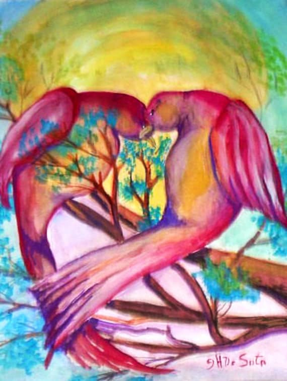 Lovebirds, wall prints, bird wall art, bird poster, wall pictures, bird art, watercolor prints, pink birds, unique wall art, home wall decor