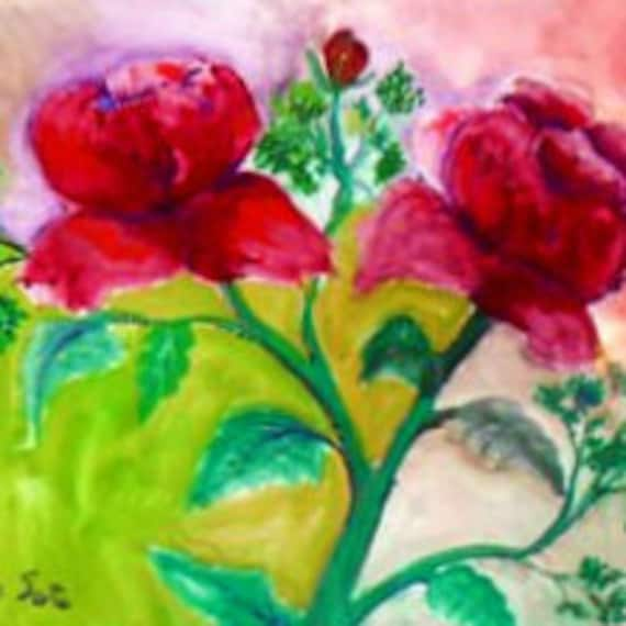 Mother's day gifts, rose art, floral wall art, watercolor prints, country rose, art posters, red roses, floral paintings, gift for women #2B