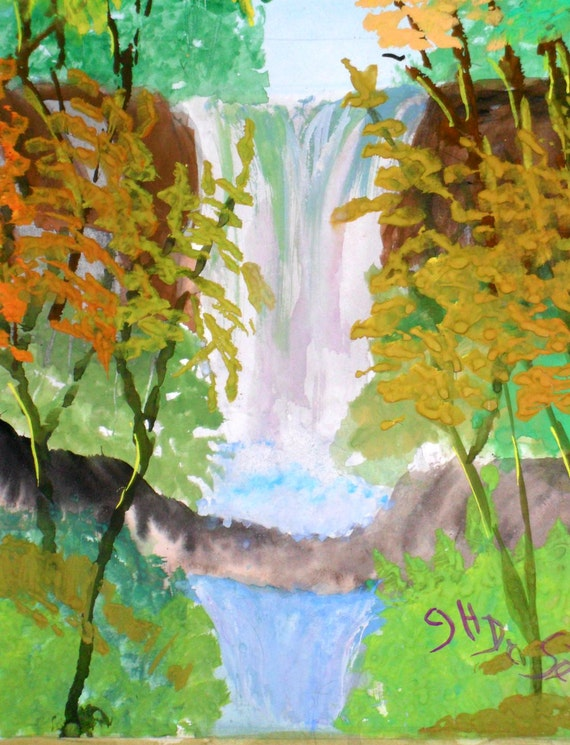 Colorful Spingtime Waterfall Original Painting Print, Summer Golden Yellow Trees,  Green Tree ,Gift for Housewarming, Labor Day Gift  # 005