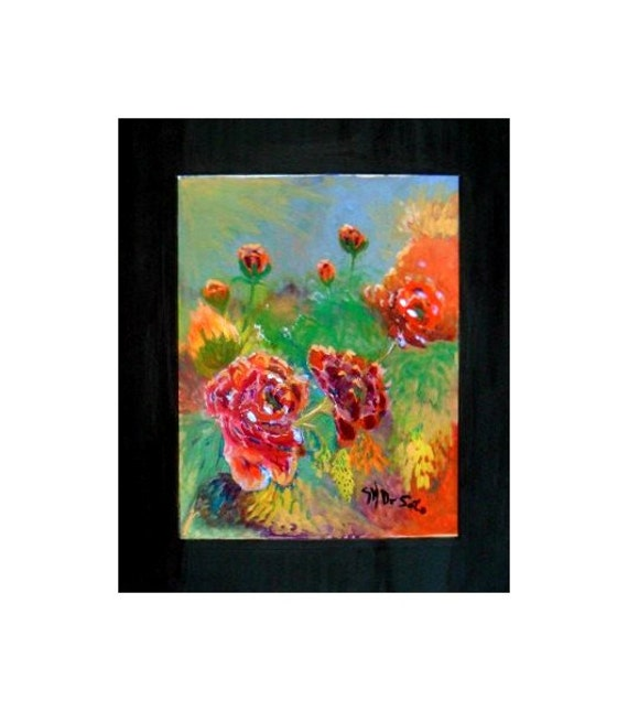 Modern art prints, red flowers, dorm room decor, orange flowers, office wall decor, still life art, watercolor painting, gifts for mom #43