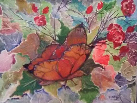 Folk art painting, animal art, butterfly wall art, Butterfly Painting ,Home decor,  butterfly watercolor artwork, home decor, geft #50