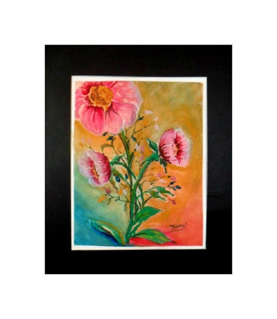 Mother's day gifts, pink flowers, watercolor flower paintings, watercolor prints, pink and red flowers, watercolor artwork, bedroom decor #9