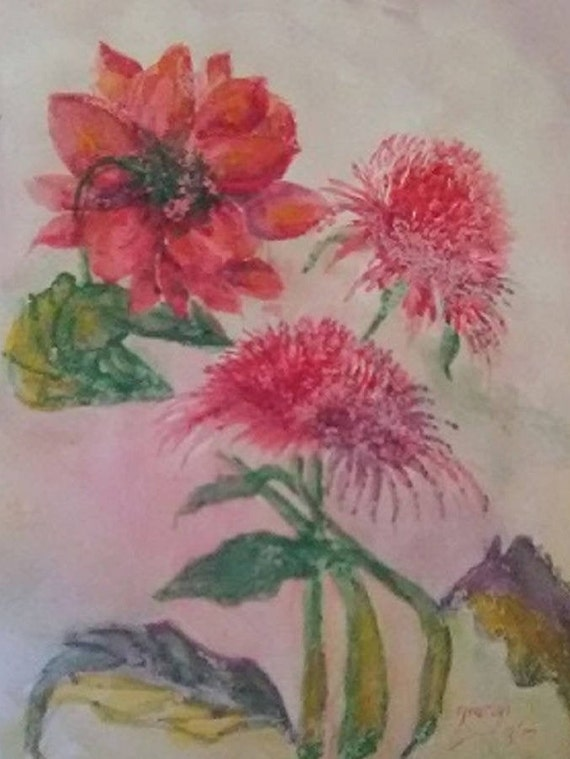Red Carnations, Original Watercolor painting print,Red Flower, Art Print,Painting of Flowers,Holiday Gift, Bedroom wall art, Home Decor #316