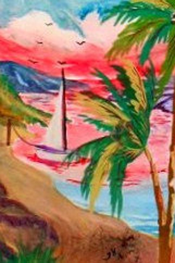 Beach, Tropical wall art prints, watercolor contemporary, sail boat, gifts, sunset , seaside, home decor, #65