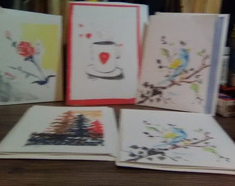 Originally Hand-Painted, Note Cards, Set of 5 Note cards, Painted in Watercolor, Original Artwork, Art Prints, Watercolor Paintings #202