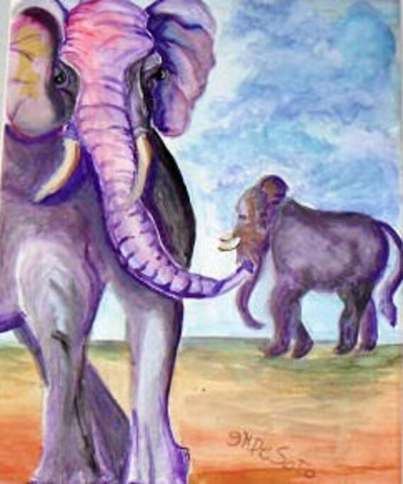 Elephant art, watercolor prints, mother and baby elephant, elephant print, cool posters, folk artwork, wall pictures, modern wall art #45