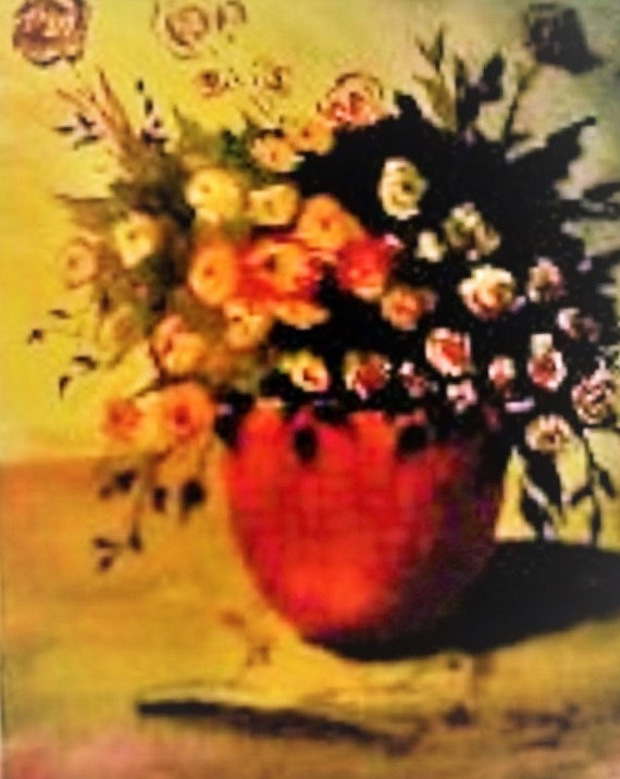 Bouquet Red,Yellow Flowers, Red Flower Pot, Modern Wall Art, Water Color Painting  Print,,Valentine Day Gift, Red Room Art Work #186