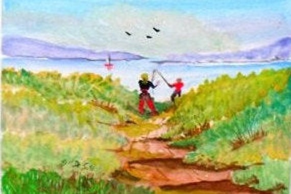 2 Fishermen at the Seashore , Watercolor Original Painting Print, Gift for Dad  Landscape Art Work, lake shore, watercolor painting,#04