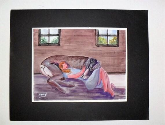 Folk art paint, animal art, girl wall art, cool poster, modern art print, dog print, watercolor art, home wall decor, abstract art,#54