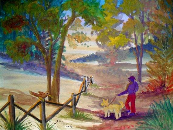 Terrier dog, dog art, Astoria park, wall prints, landscape art, cool posters, dog print, watercolor art, animal art, living room art #63