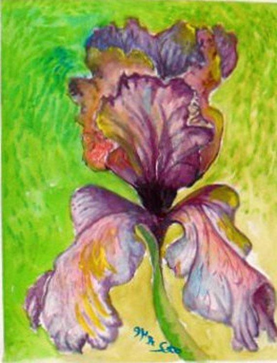 Purple iris,Watercolor Floral, Original Painting Print  Holiday gift, Folk art , Wall art, Purple Iris Flower, Home decor #45