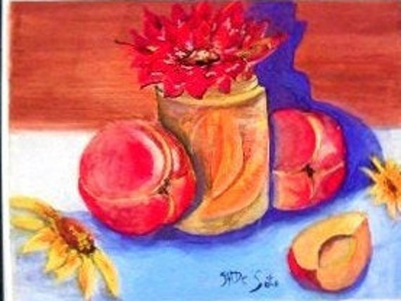 Watercolor painting of fruit print , Still life, kitchen wall decor, peaches art, wall art, still life, Holiday gift , peach painting #338