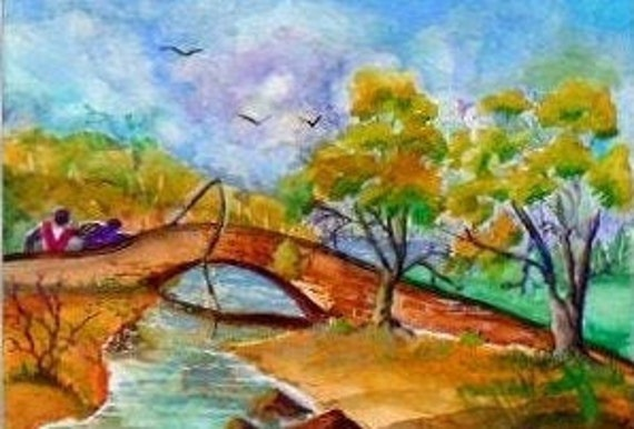 Folk art painting, bridge art, landscape art, wall pictures, modern wall art, man fishing, gift for him, living room art, watercolor print#8