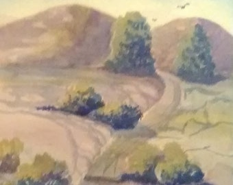 Landscape art print, painting art work,wall art,home decor ,Watercolor original painting created for my sister,