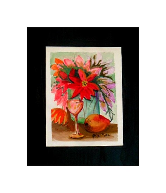 Peaches, Pinsetters in a Vase, Red Floral Watercolor Artwork Print, Original Art, Gift # 78