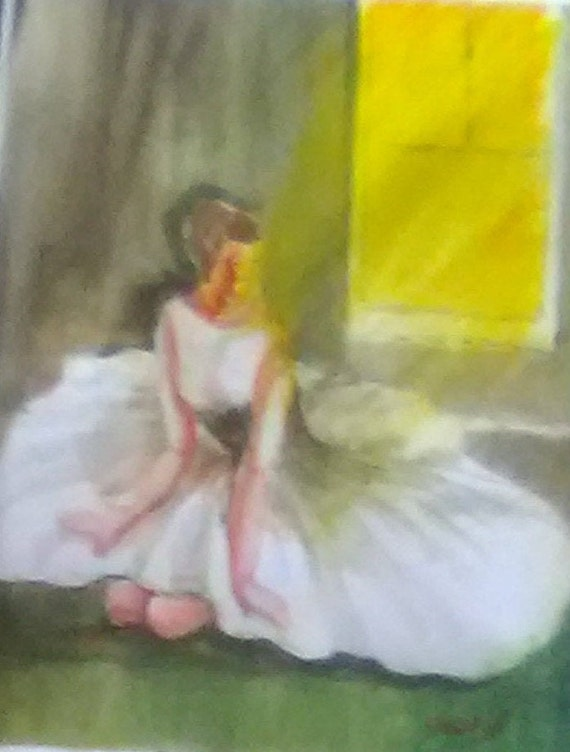 Ballerina watercolor painting print  wall art print,White Dress Dancer lady,Watercolor art work,birthday gifts#187