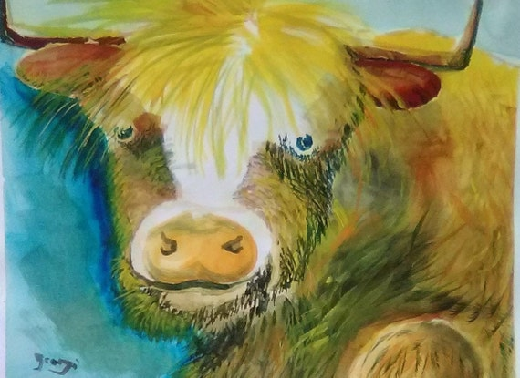 Buster the Bull, Whimsical Bull, Kitchen Wall Art, Original Watercolor Painting Print, from My Gallery, Animal Art Work, Kitchen Decor # 196
