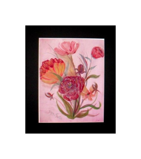 PINK ROSES PICTURE STRAW HATS VICTORIAN STILL LIFE FLORAL TWO  PRINTS  16X20