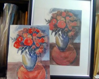 originally watercolor hand painted, pretty painting, 8x10 inch Framed , Original Art Work, Home Decor, Art Print, Living room Decor, # 203