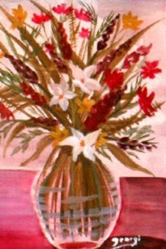 White and Red flowers, Watercolor Painting print , Floral Bouquet in a glass vase, flower wall art,  paintings of flowers, Xmas gifts #320