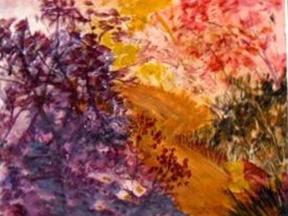 Autumn walk colors, landscape painting  modern wall art, landscape art print, of  original painting, home decor, folk art, Holiday gift # 27