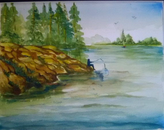 Men Setting on a Hill Fishing  Canadian lake Pinting , Watercolor Original  Painting Print, Landscape Art Work  Home decor ,Gift For Dad #6