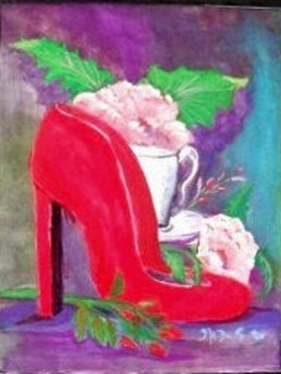 Gifts for mom, red shoe, modern wall decor, watercolor art, watercolor painting, art print, housewarming gifts, wall pictures, home decor #7