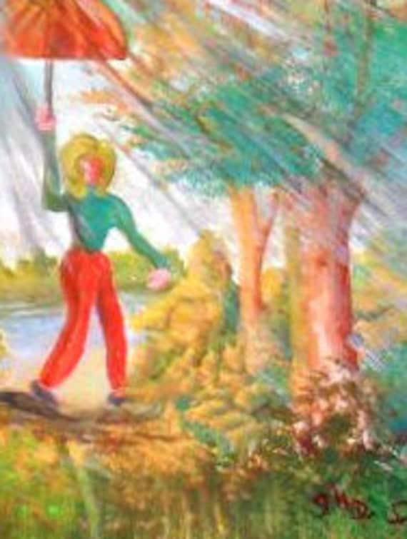 Grandma, Gifts rain art, folk art painting, watercolor painting, red umbrella art, watercolor artwork, gifts home residents, home decor #36